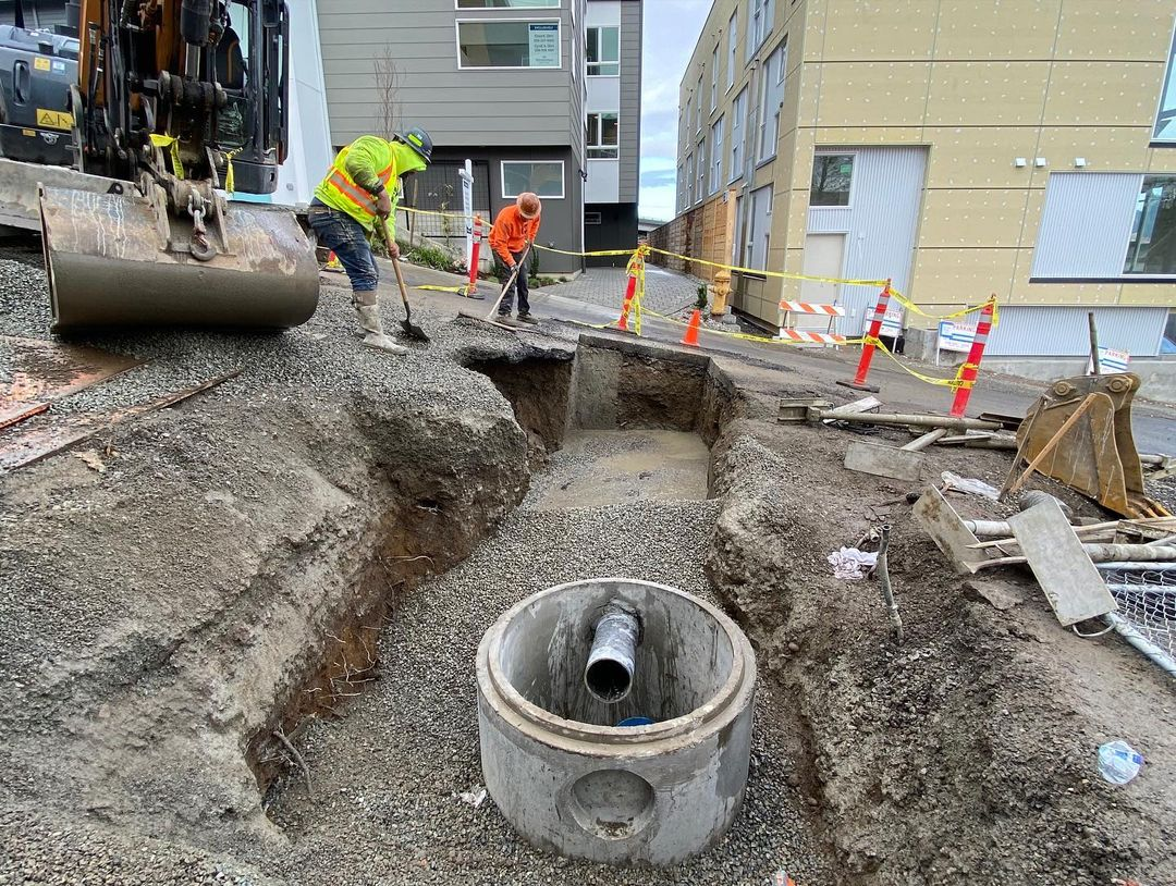 Digging electrical ditches for a new elementary school in Auburn, WA.