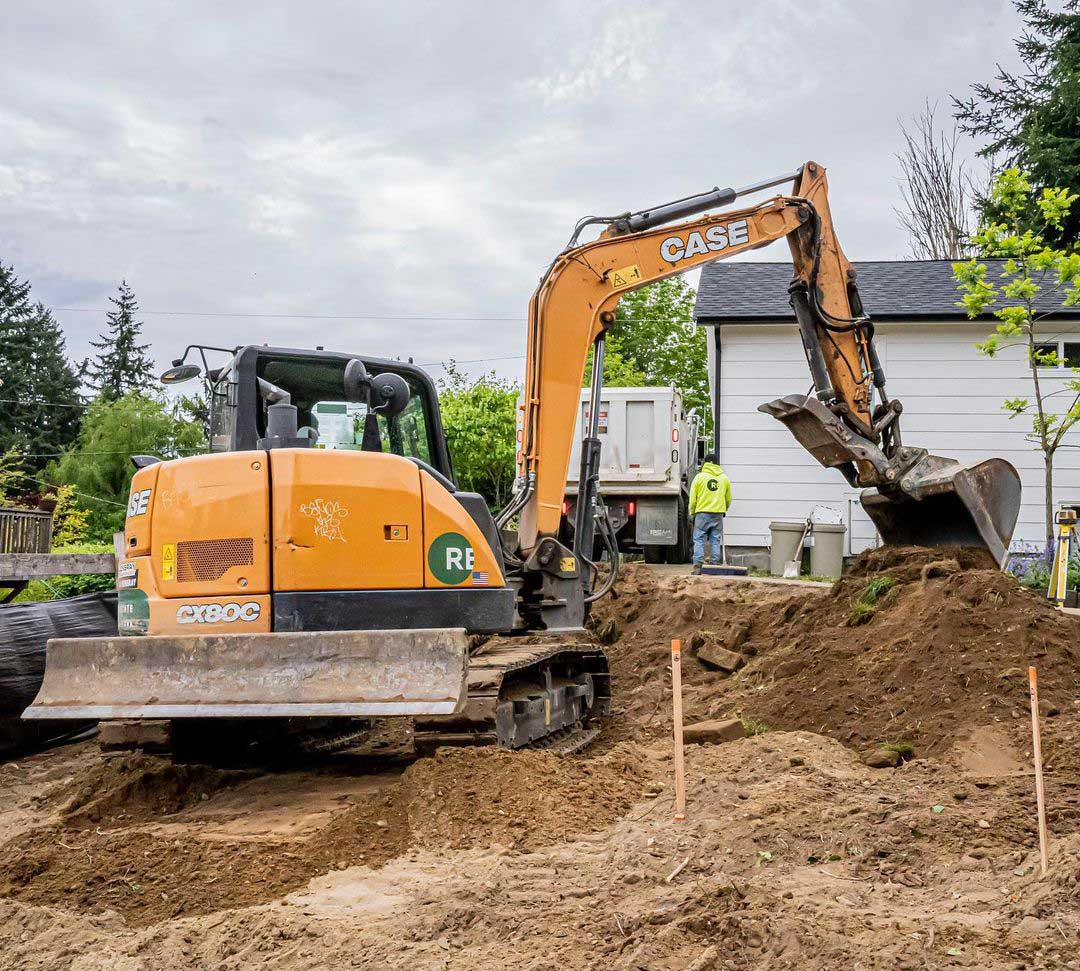 Excavating for an AADU and DADU on 2518 NE 140th St Seattle, WA 98125